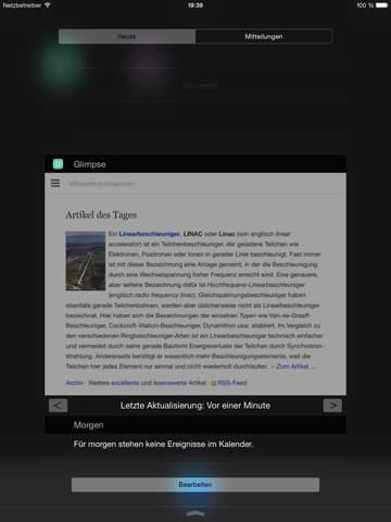 Glimpse - Webseiten für deine Uhr und die Nachrichtenzentrale Screenshot