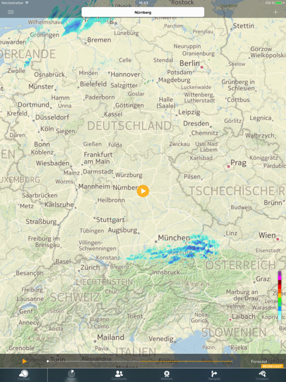 Wetter - Radar - Sturm mit MORECAST App Screenshot
