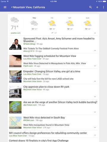 Google Nieuws en weer iPad app afbeelding 3