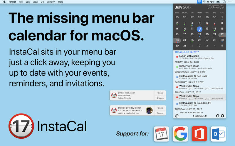 InstaCal - The Missing Menu Bar Calendar Screenshots