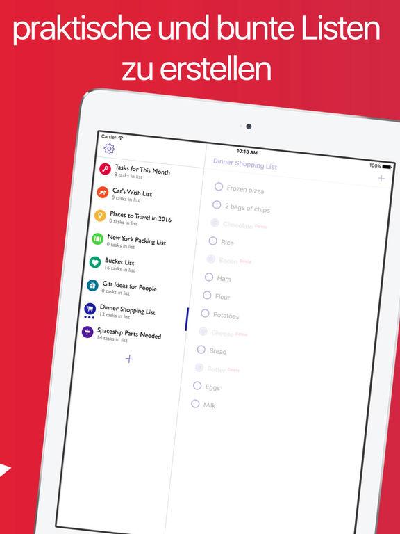 Listen -  Bunte Aufgabenlisten und Checklisten Screenshot