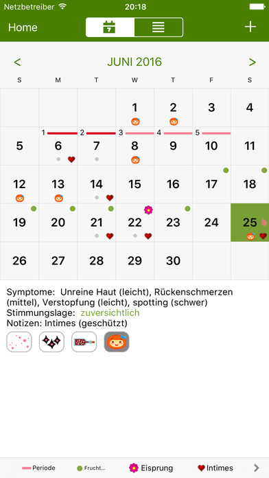 Menstruations Kalender (Period Tracker) Screenshot