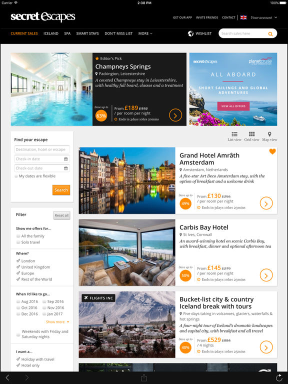 Secret Escapes - Hand-picked hotels, members-only travel deals Screenshot