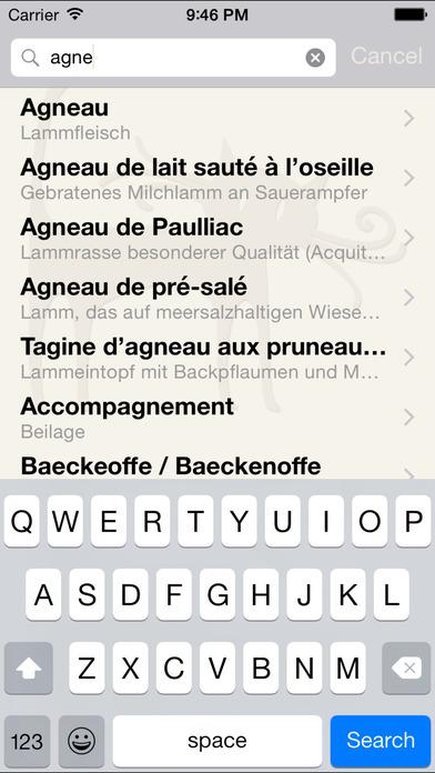 Bon appétit - Professionelles Glossar für Speisen und Getränke auf Französisch, Englisch, Deutsch, Chinesische, Italienische, und Niederländisch Screenshot