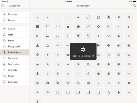 Symbols — special text characters for the iPhone & iPad Screenshot