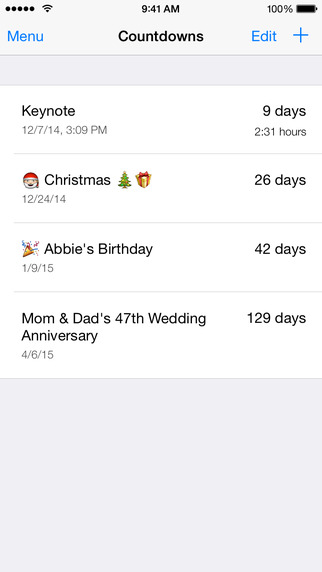 Countdowns - Widget for counting days left to events Screenshot