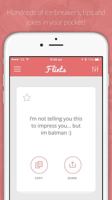Flints - Chatup lines for Tinder, Happn etc