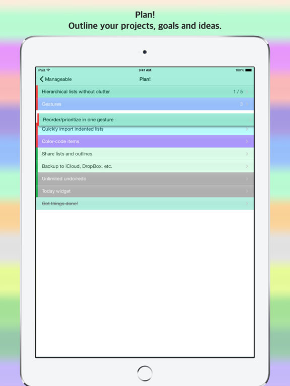 Manageable - Your Goals Task by Task with Hierarchical Lists Screenshots
