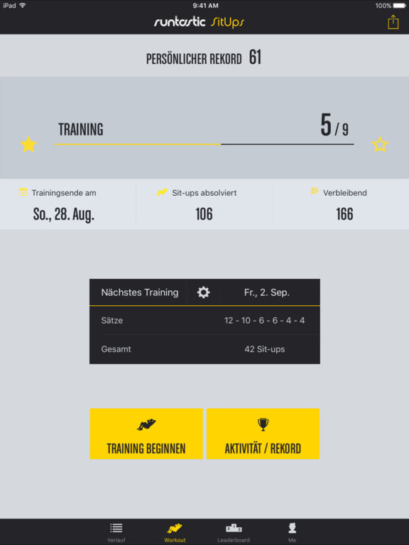 Runtastic Sit-Ups PRO Bauchmuskeltraining, Workout Screenshot