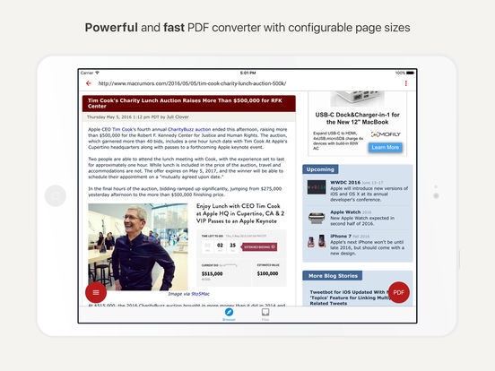 InstaWeb: Web to PDF Converter, Article Reader Screenshot