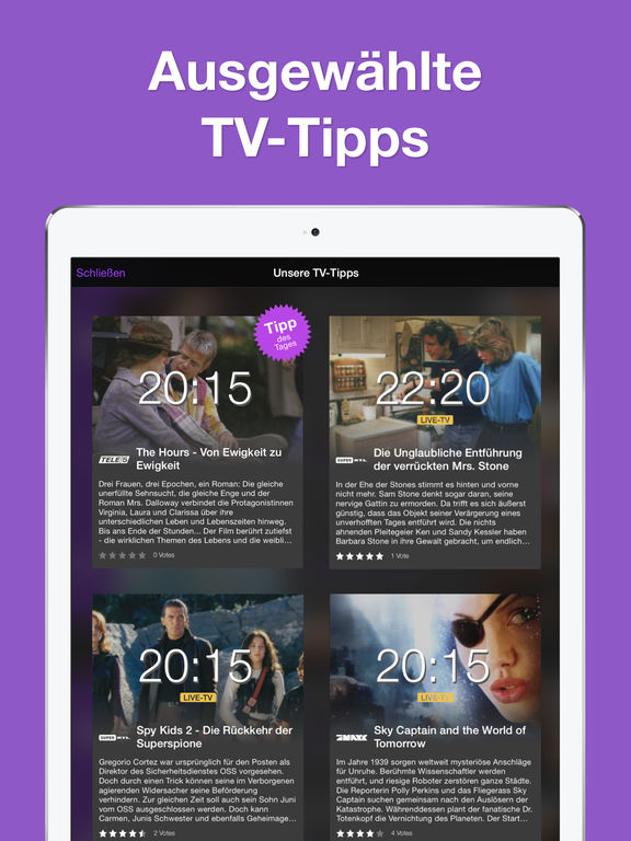 TV Programm App Fernsehprogramm und TV-Zeitung mit Live TV und Online TV Tipps für heute Screenshot