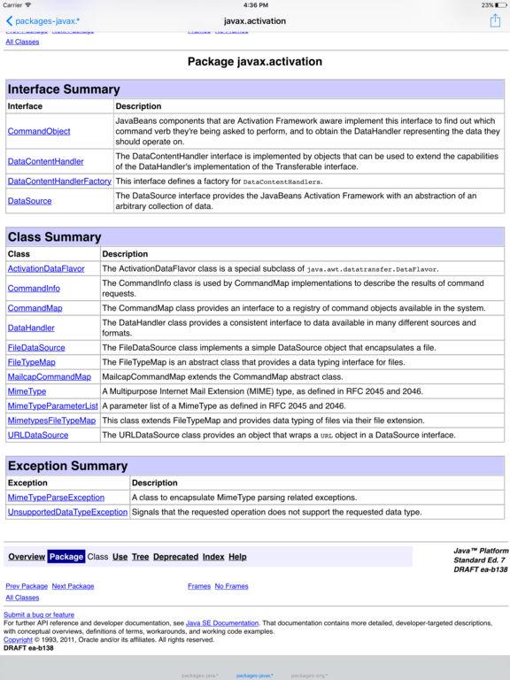 The API Specification for JAVA SE 8 Screenshots
