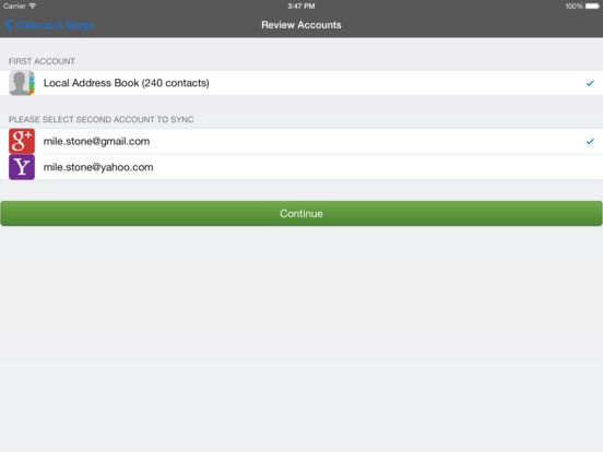 Cleanup, Delete & Merge Duplicate Contacts Pro Screenshots