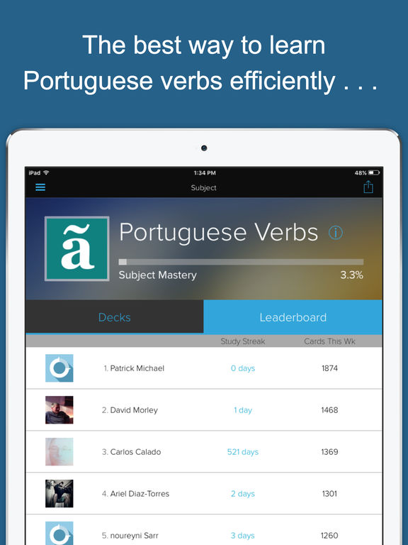 Learn Portuguese Verbs: Practice Verb Conjugations & Tenses with Brainscape lessons Screenshots