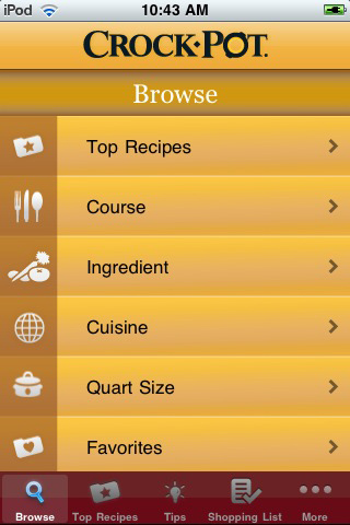 Crock-Pot® Slow Cooker Recipe Finder Screenshot