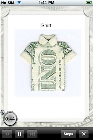 Dollar Origami Lite free app screenshot 1
