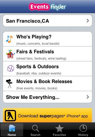 Events Finder free app screenshot 1