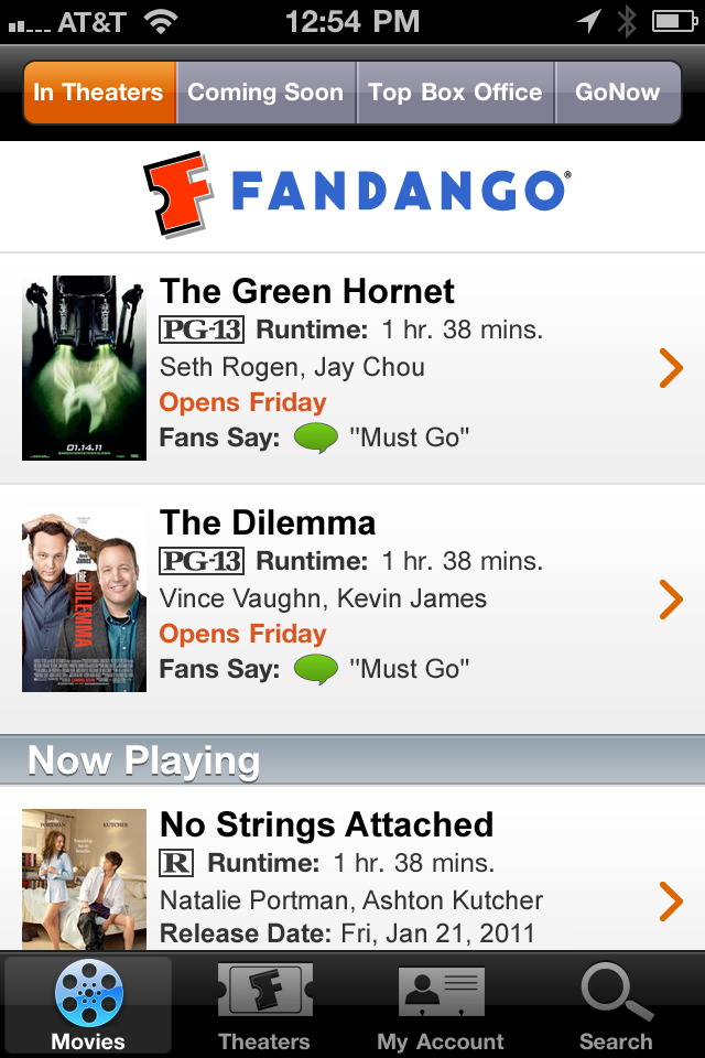 Fandango Movies - Times & Tickets free app screenshot 1