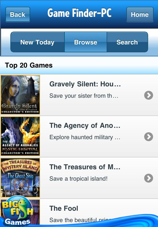 Game finder by big fish games games entertainment puzzle for Iphone fish finder