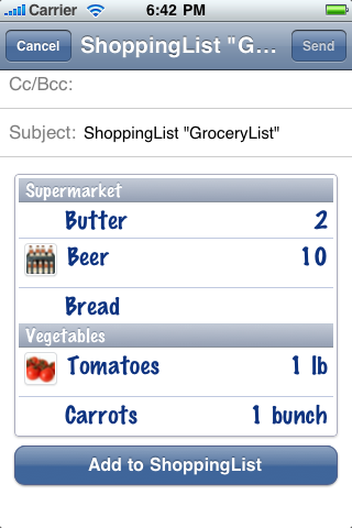 ShoppingList Screenshot