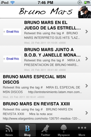 Bruno Mars Fan Screenshot