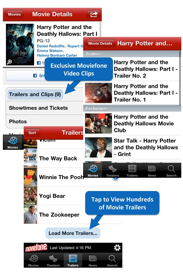 Moviefone - Movies, Theaters, Showtimes and News from Hollywood free app screenshot 1