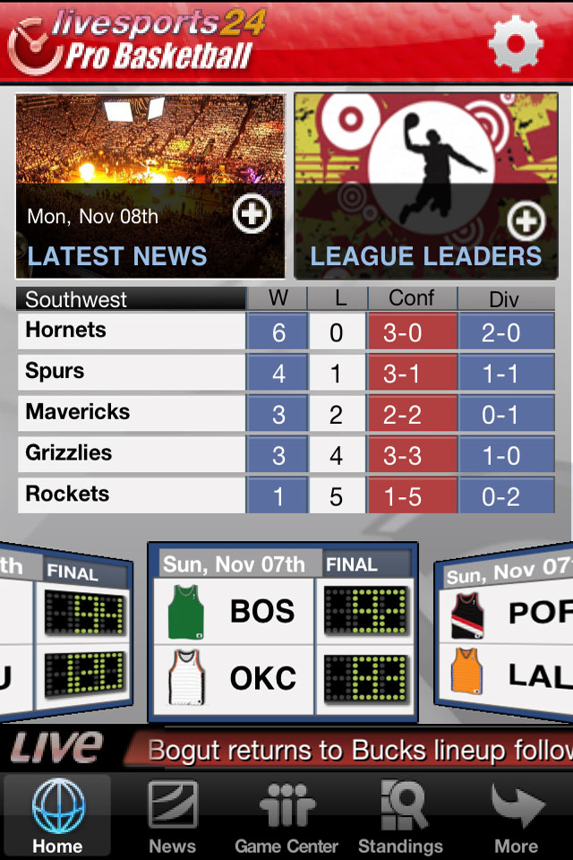 Livesports24 Pro Basketball (NBA Scores) free app screenshot 1