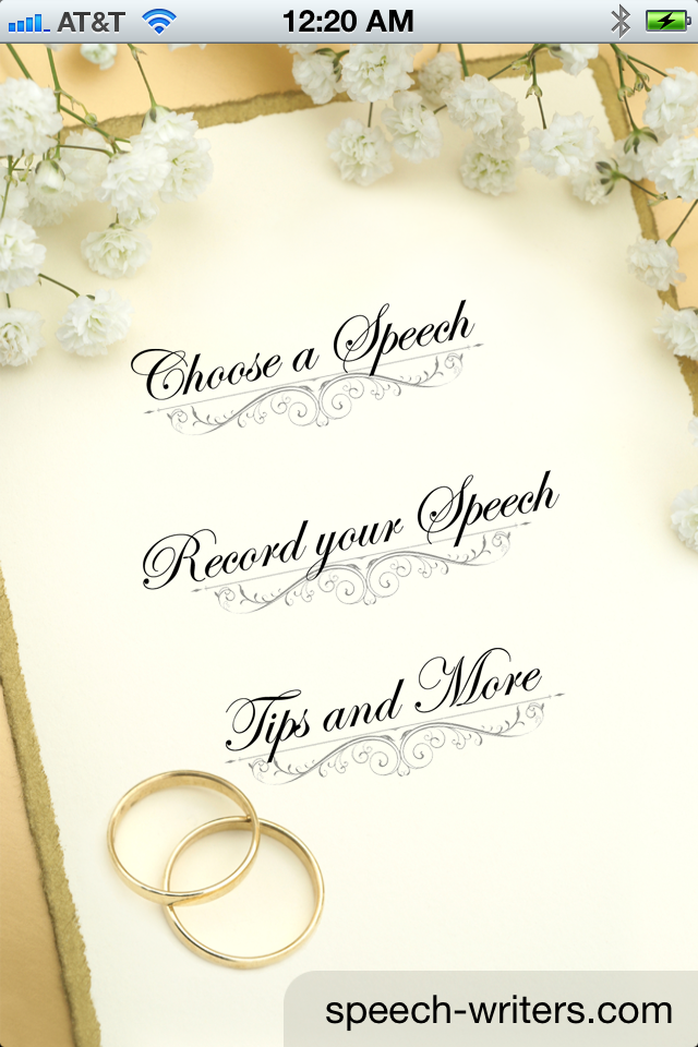help writing my wedding speech Make a great best man speech with our help wedding speech jokes are best we are the only speech-writing site that's constantly sourcing new and.