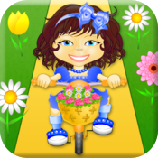 Girl, bike, flowers icon