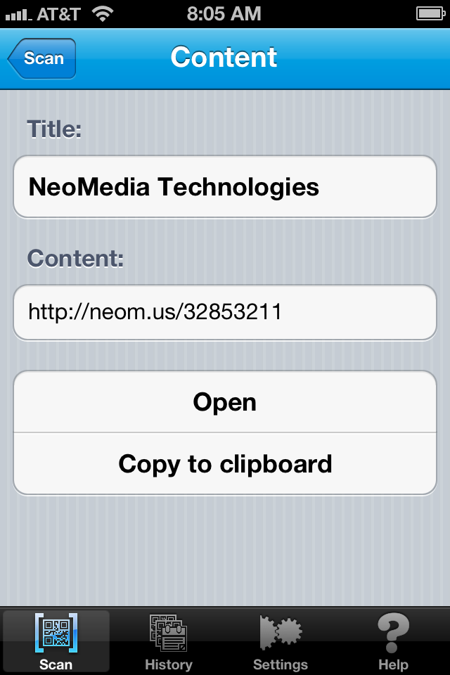 iPad Image of NeoReader – QR reader, barcode scanner, & more