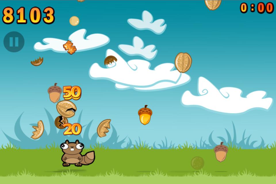 你控制一个有特殊能力的可爱小松鼠,它可以用它的头砸碎坚果.