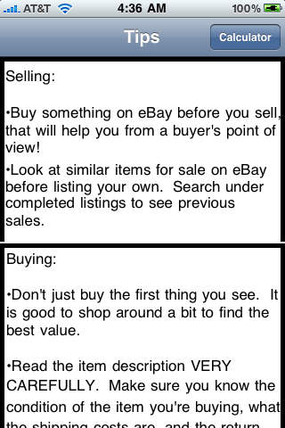 eBay Fees Calculator and Free Tips iPhone Screenshot 2