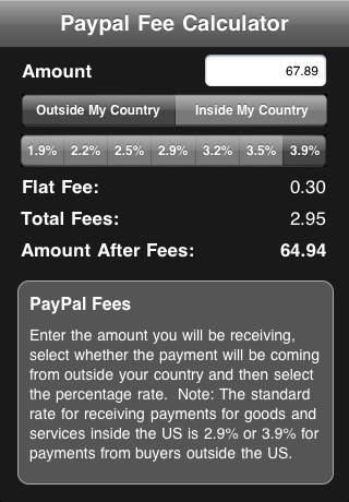 US PayPal Fees screenshot