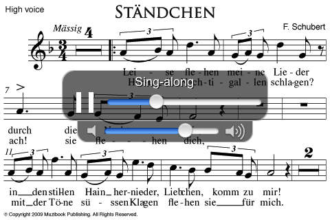 Ständchen Schubert High Voice Piano - Sing-Along