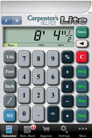 Carpenter's Helper Lite - Free Construction Calculator iPhone Screenshot 1