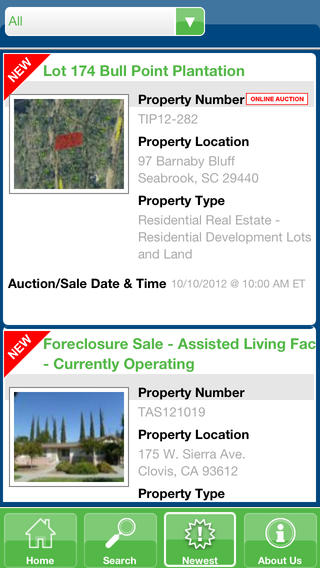 Tranzon Real Estate Auction Search Engine iPhone Screenshot 3