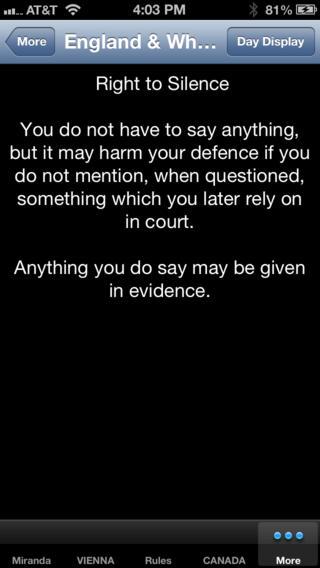 POLICE MIRANDA WARNING iPhone Screenshot 1