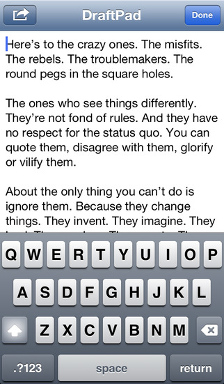 DraftPad iPhone Screenshot 1