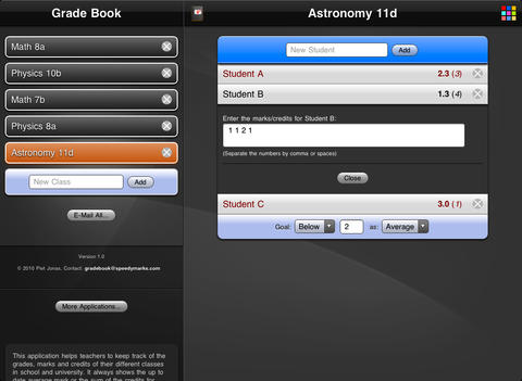 Grade Book HD iPad Screenshot 2