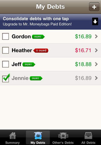 Mr. Moneybags IOU Lite iPhone Screenshot 2