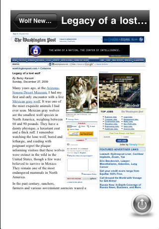 Pet Lover's Wolf News Reader iPhone Screenshot 2