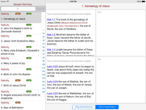 Gospel Harmony for iPad iPad Screenshot 1