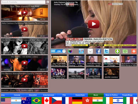 WorldTube HD Plus: Top Youtube Videos of Today by Countries