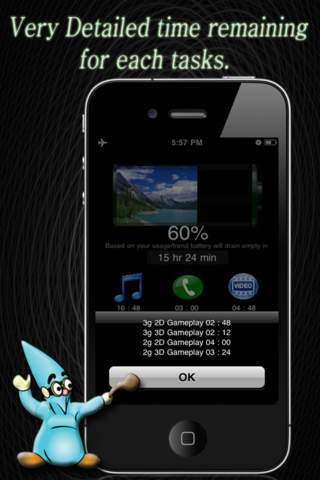 Screenshot of BatteryWizard - themes, full charge, flashlight