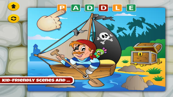 Word Learning Puzzle for Kids and Toddlers - Adventures Pirates and Treasures