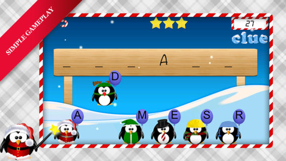 Move The Penguin - word game It's christmas - Free