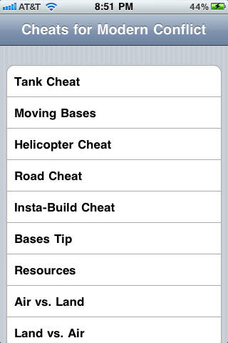 Cheats for Modern Conflict