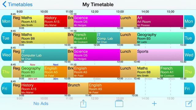 School Timetable Free - Lesson Course Schedule for Student Teacher Organiser