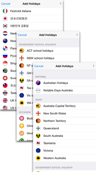 Australia Holidays 2015 - 2017 - Public School State Notable and Religious holidays