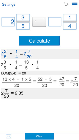 Fraction calculator for arithmetic operations with fractions: addition subtraction multiplication an